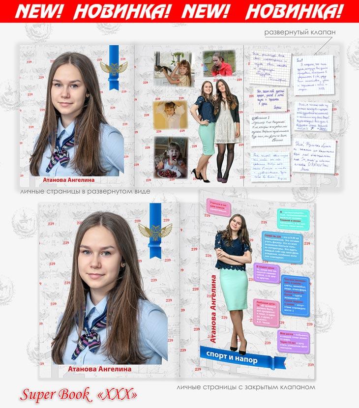 Личные страницы фотоальбома с открытым клапаном